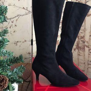 Aerosoles Black fabric tall boots in black.